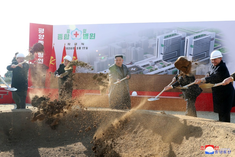 North Korean leader Kim Jong Un attends a groundbreaking ceremony for the new Pyongyang General Hospital