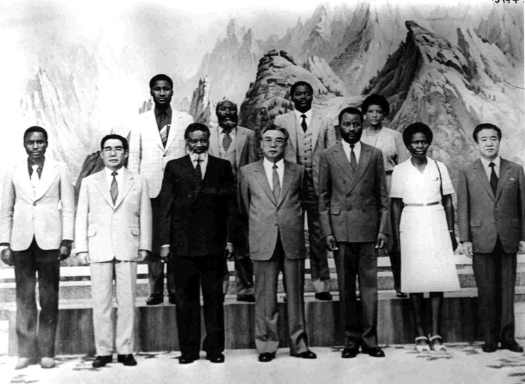 a DPRK Leader Kim Il Sung with SWAPO President Sam Nujoma